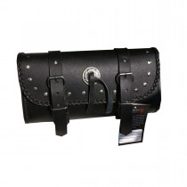 HMB-3014E FREE SHIPPING LEATHER MOTORCYCLE TOOLS FORK BAG BIKER TOOLBAG BRAIDS BLACK TRAVEL