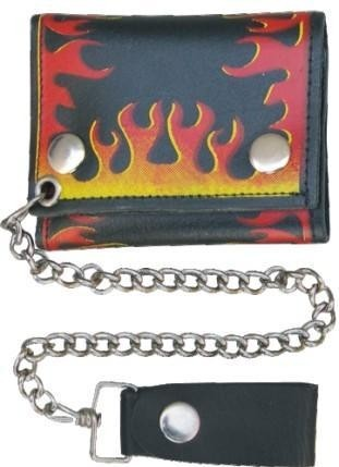 HMB-725C TRIFOLD WALLET CHAIN PURSE USA TRUCKER WALLETS FLAMES RIDERS STYLE