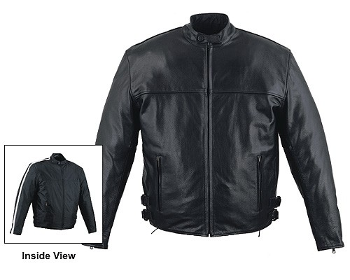HMB-0410A GENUINE LEATHER JACKET MEN BIKER JACKETS ZIPOUT LINING