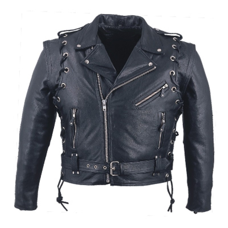 HMB-0415D GENUINE LEATHER JACKET MEN BIKER JACKETS ZIPOUT LINING