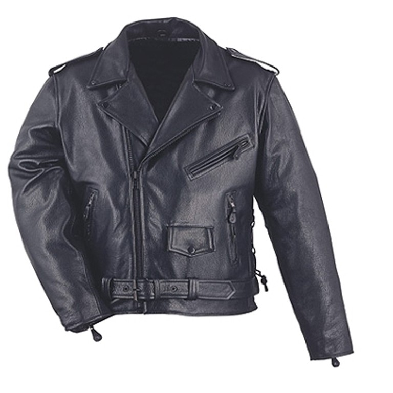 HMB-0416A GENUINE LEATHER JACKET MEN BRANDO BIKER JACKETS ZIPOUT LINING BLACK COAT