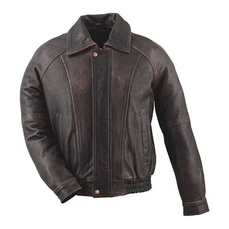 HMB-0440A GENUINE LEATHER JACKET MEN BIKER JACKETS ZIPOUT LINING