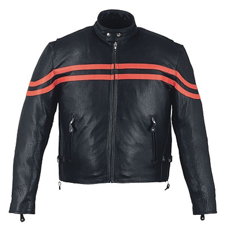HMB-0467C GENUINE LEATHER JACKET MEN BIKER JACKETS ZIPOUT LINING