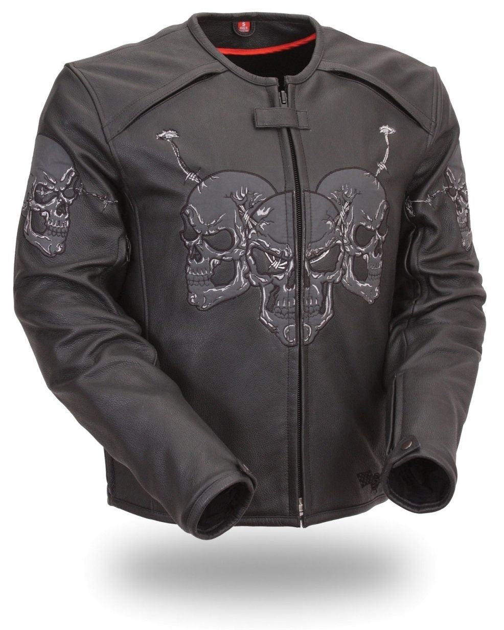 HMB-793A LEATHER JACKET BLACK WITH SKULL STYLE