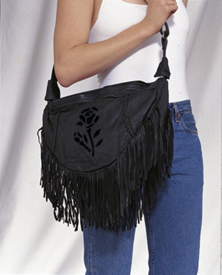 HMB-2002A FREE SHIPPING LEATHER BAG FRINGES ROSE SHOULDER BAGS BIKER WOMEN PURSE FLOWER STYLE