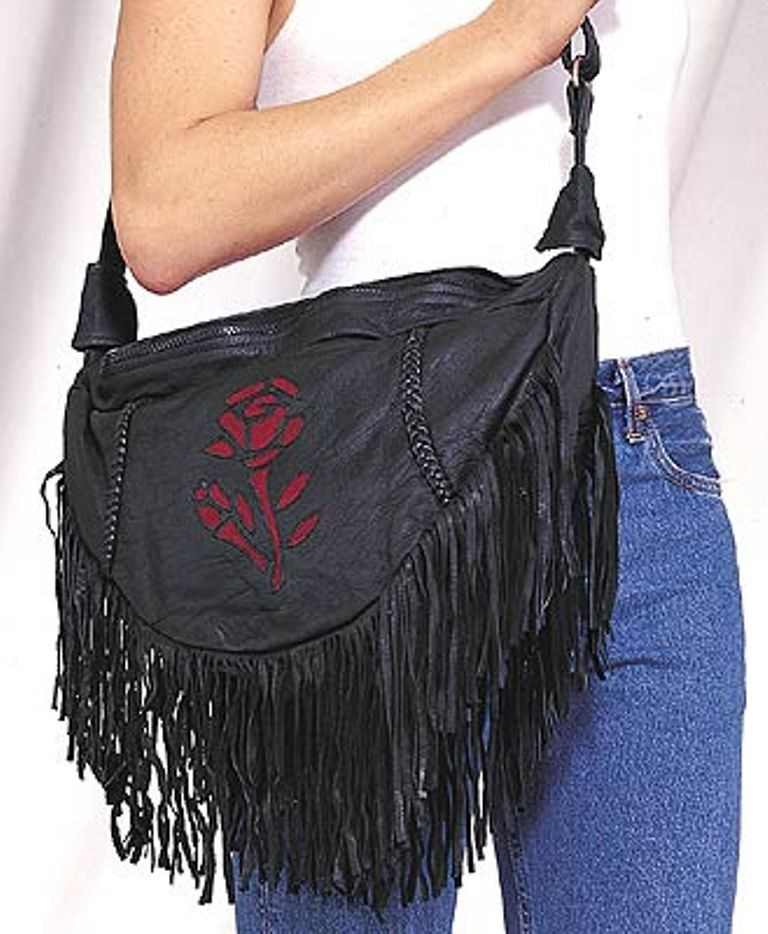 HMB-2002B FREE SHIPPING LEATHER BAG FRINGES ROSE SHOULDER BAGS BIKER WOMEN PURSE FLOWER STYLE