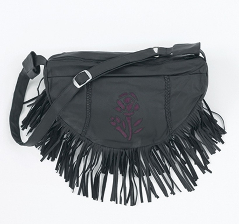 HMB-2002C FREE SHIPPING LEATHER BAG FRINGES ROSE SHOULDER BAGS BIKER WOMEN PURSE FLOWER STYLE
