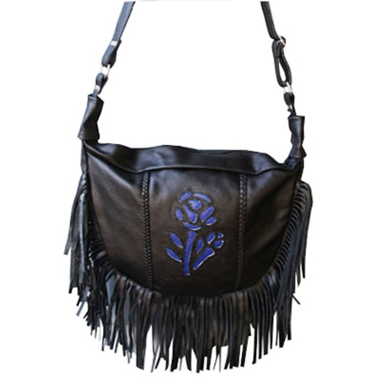 HMB-2002D FREE SHIPPING LEATHER BAG FRINGES ROSE SHOULDER BAGS BIKER WOMEN PURSE FLOWER STYLE