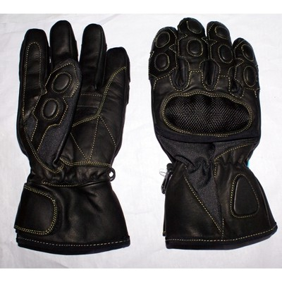 HMB-2011C LEATHER BIKER GLOVES RIDER CHOICE FULL FINGERS