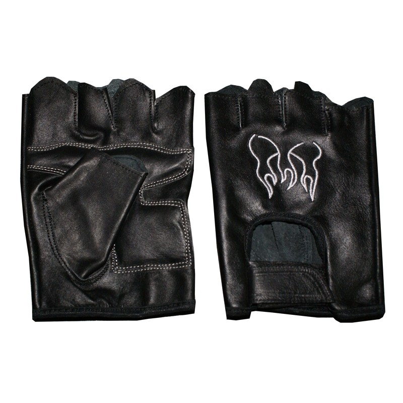 HMB-2015G LEATHER BIKER GLOVES RIDER CHOICE FINGERLESS