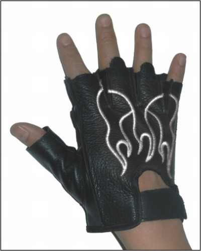 HMB-2018A LEATHER BIKER GLOVES RIDER CHOICE FINGERLESS
