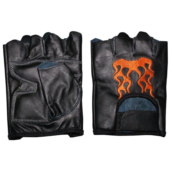 HMB-2018D LEATHER BIKER GLOVES RIDER CHOICE FINGERLESS