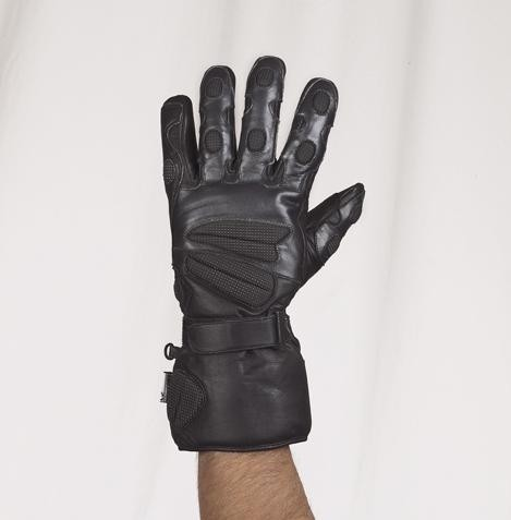HMB-2042A LEATHER BIKER GLOVES RIDER CHOICE FULL FINGER