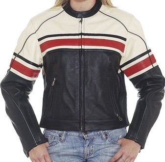 HMB-0234A GENUINE LEATHER JACKET LADIES BIKER JACKETS ZIPOUT LINING