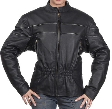 HMB-0247A GENUINE LEATHER JACKET LADIES BIKER JACKETS ZIPOUT LINING