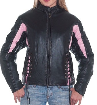 HMB-0266A GENUINE LEATHER JACKET LADIES BIKER JACKETS ZIPOUT LINING