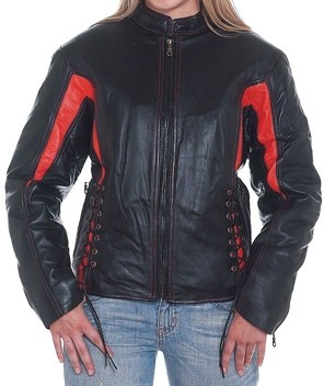HMB-0266B GENUINE LEATHER JACKET LADIES BIKER JACKETS ZIPOUT LINING