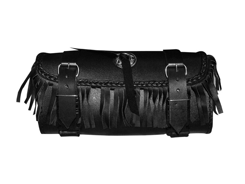 HMB-3004D LEATHER MOTORCYCLE TOOLS FORK BAG BIKER TOOLBAG BLACK STUDS CONCHO