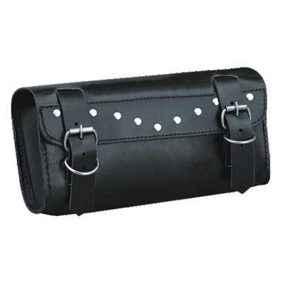 HMB-3001A LEATHER MOTORCYCLE TOOLS FORK BAG BIKER TOOLBAG BLACK STUDS STYLE