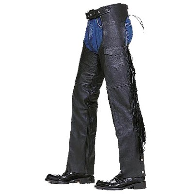 HMB-327B LEATHER CHAPS BLACK ZIPPER STYLE THIGH GATHERED