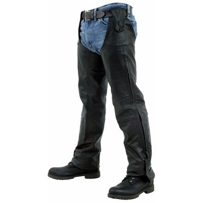 HMB-328A LEATHER CHAPS BLACK ZIPPER STYLE THIGH GATHERED