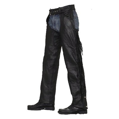 HMB-337A LEATHER CHAPS BLACK ZIPPER STYLE THIGH GATHERED