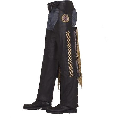 HMB-339A LEATHER CHAPS BLACK ZIPPER STYLE THIGH GATHERED