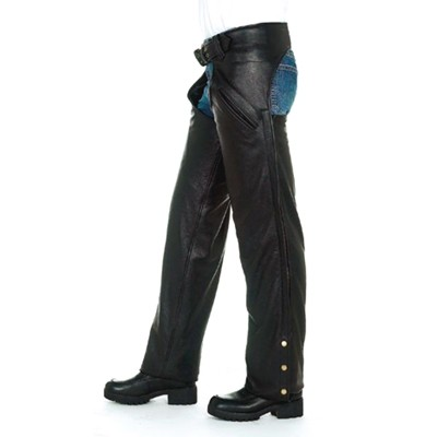 HMB-341A LEATHER CHAPS BLACK ZIPPER STYLE THIGH GATHERED