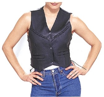 HMB-0351A Women Leather Vests Cowhide.