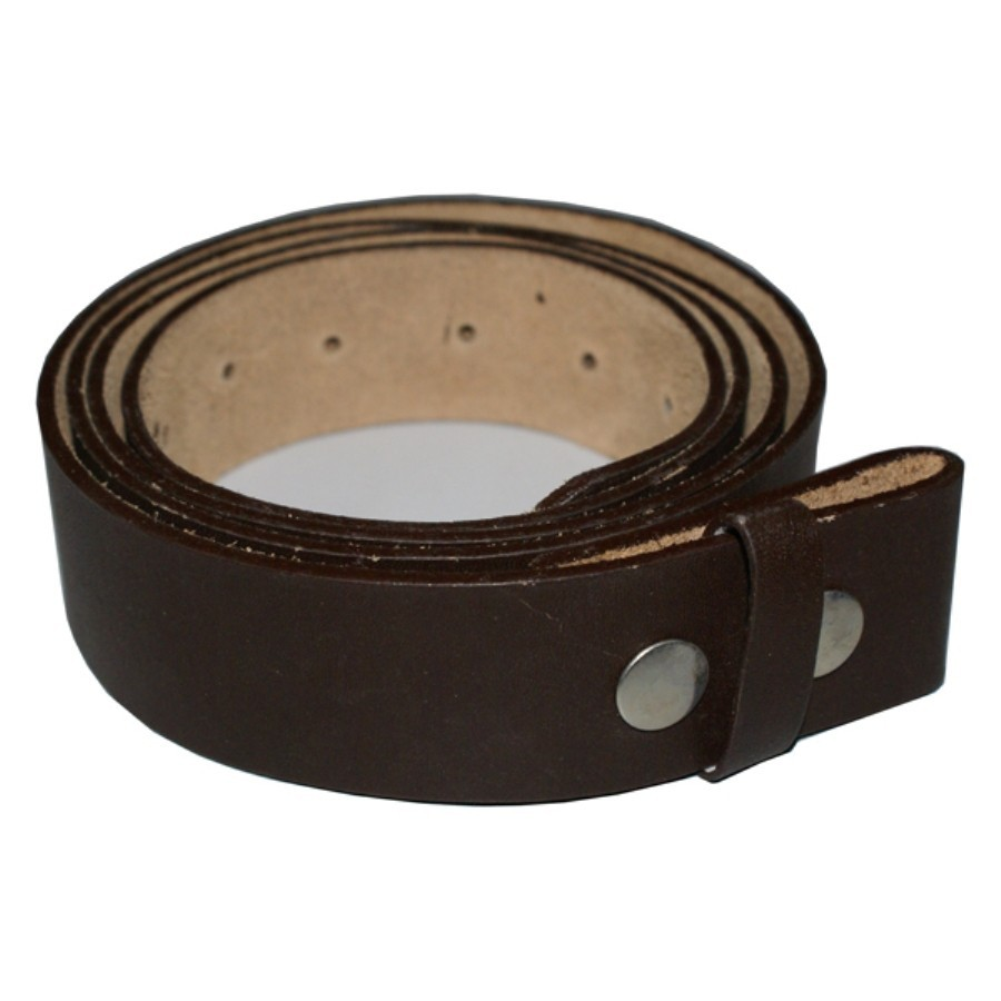 HMB-3931B LEATHER PANTS BELT WITHOUT BUCKLE BROWN SNAPS PRESSURE