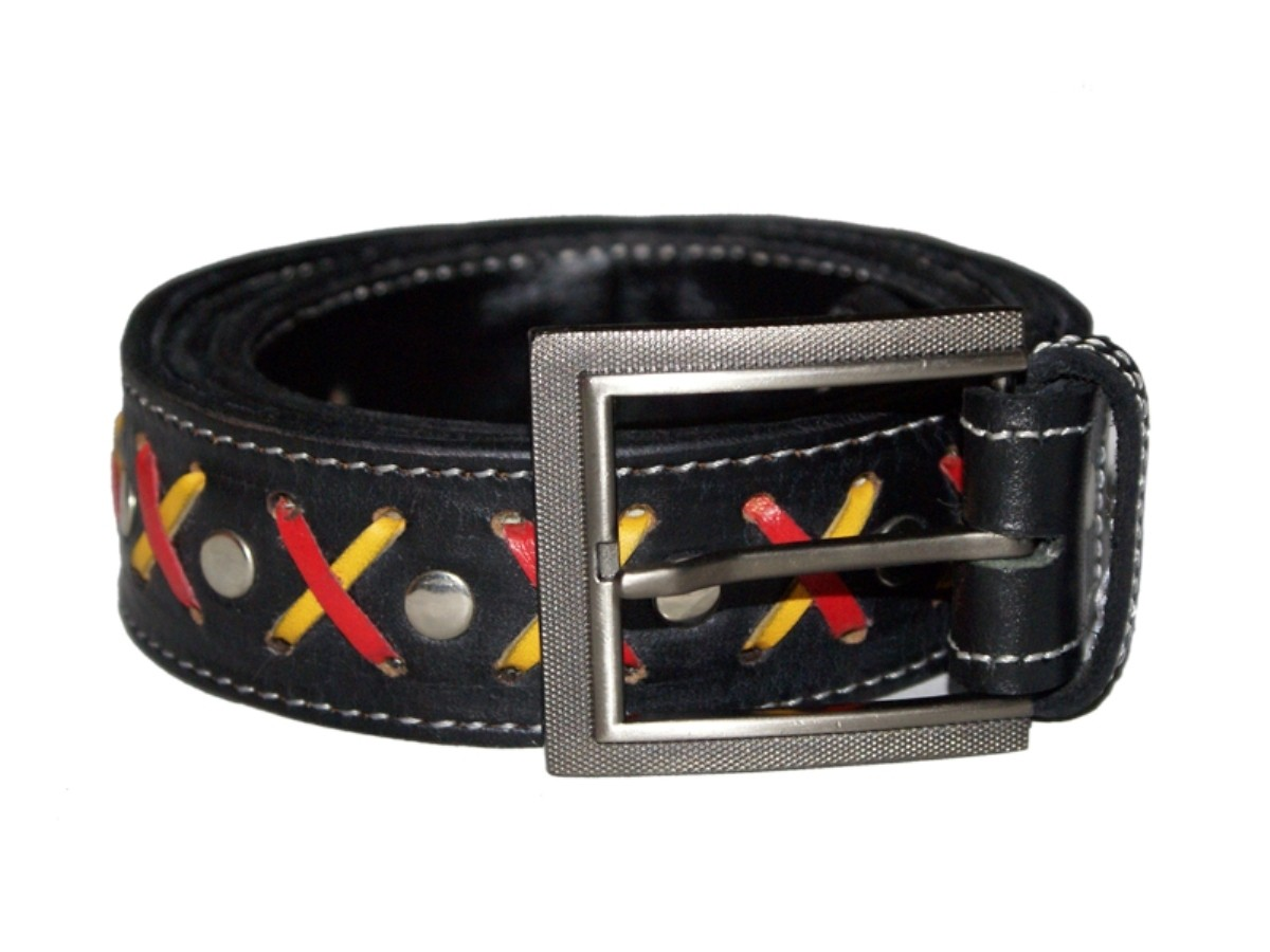 HMB-3932B LEATHER PANTS BELT BRAID STYLE WITH  BUCKLE FIX