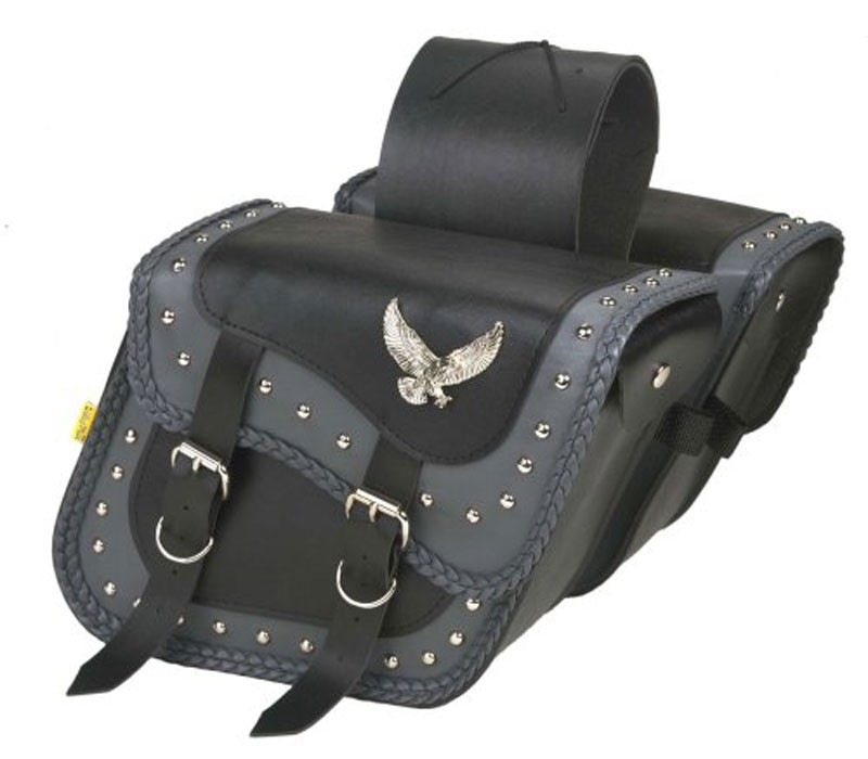 HMB-4001A FREE SHIPPING LEATHER MOTORCYCLE SADDLE BAG EAGLE AND STUDS STYLE