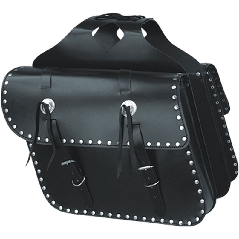 HMB-4008A FREE SHIPPING LEATHER MOTORCYCLE SADDLE BAG KANCHO AND STUDS STYLE