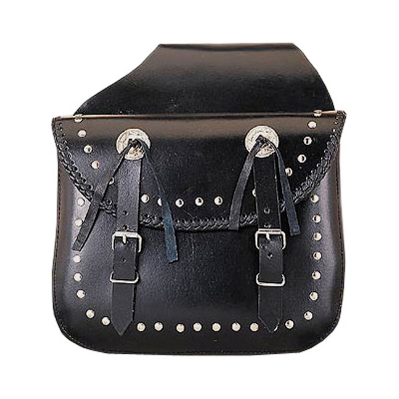 HMB-4011A FREE SHIPPING LEATHER MOTORCYCLE SADDLE BAG KANCHO AND STUDS STYLE