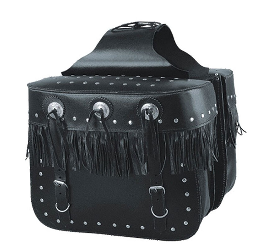 HMB-4030B FREE SHIPPING LEATHER MOTORCYCLE SADDLE BAG STUDS AND FRINGES STYLE