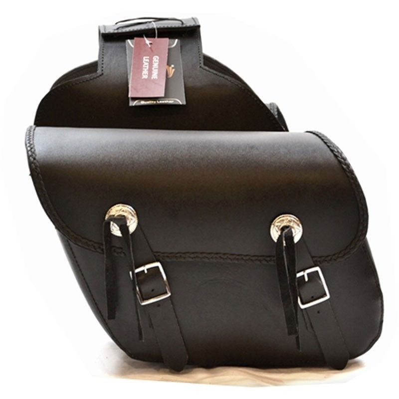 HMB-4037A LEATHER MOTORCYCLE SADDLE BAGS LUGGAGE BIKER SADDLEBAG