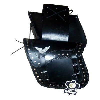 HMB-4041A FREE SHIPPING LEATHER MOTORCYCLE SADDLE BAG EAGLE AND STUDS STYLE