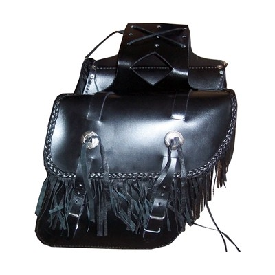 HMB-4043A FREE SHIPPING LEATHER MOTORCYCLE SADDLE BAG FRINGES AND BRAIDS STYLE