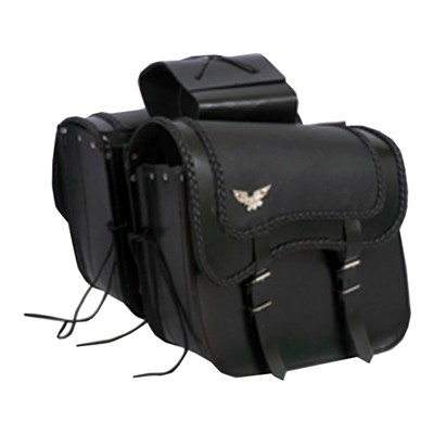 HMB-4044A FREE SHIPPING LEATHER MOTORCYCLE SADDLE BAGS LUGGAGE BIKER SADDLEBAG THROWOVER