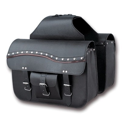 HMB-4070A FREE SHIPPING LEATHER MOTORCYCLE SADDLE BAG STUDS STYLE