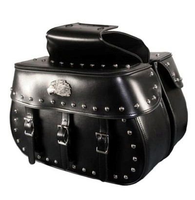 HMB-4166A FREE SHIPPING LEATHER MOTORCYCLE SADDLE BAG EAGLE AND STUDS STYLE