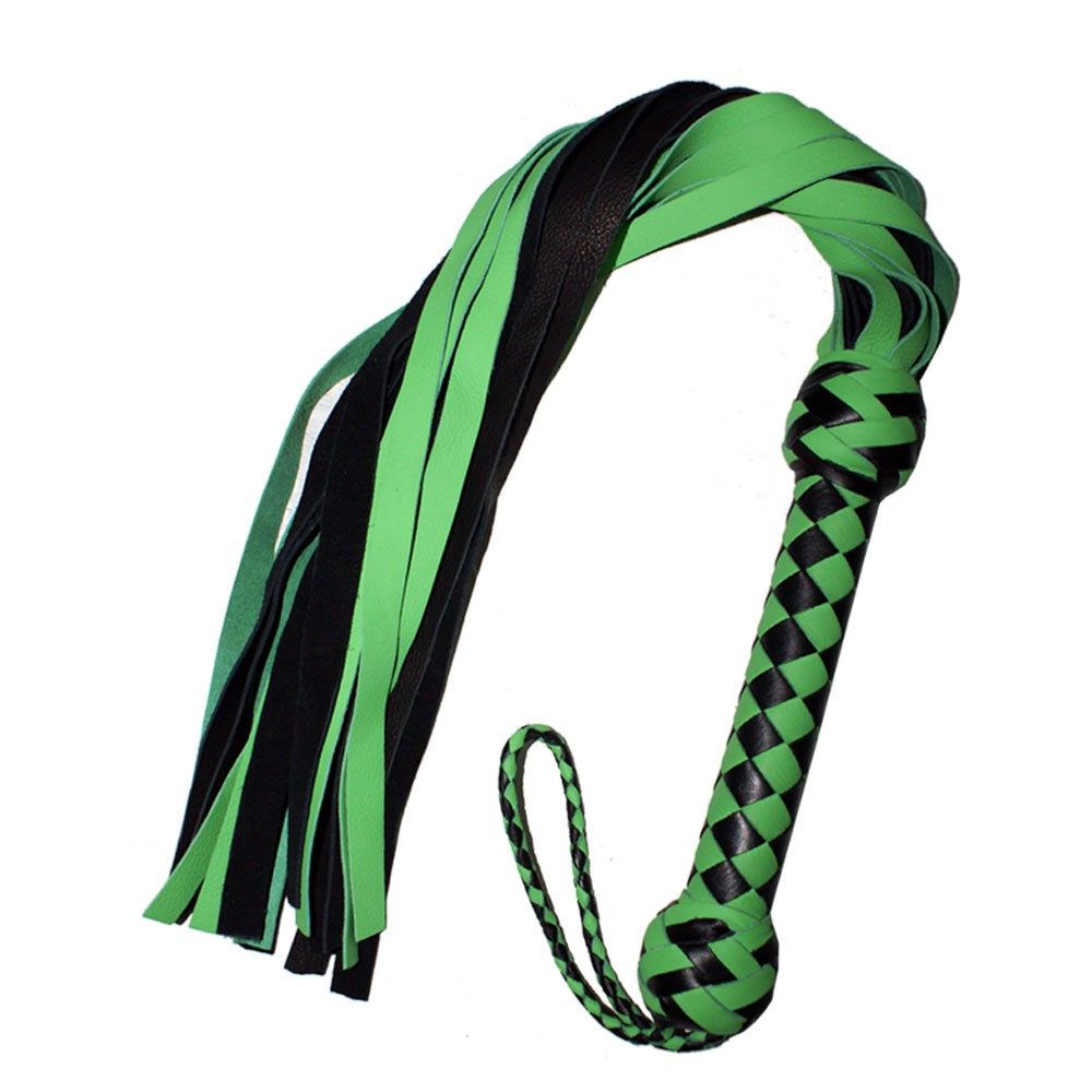 HMB-504F LEATHER FLOGGER 20 TAILS SPANKING BULLWHIPS BLACK GREEN WHIP SOFT