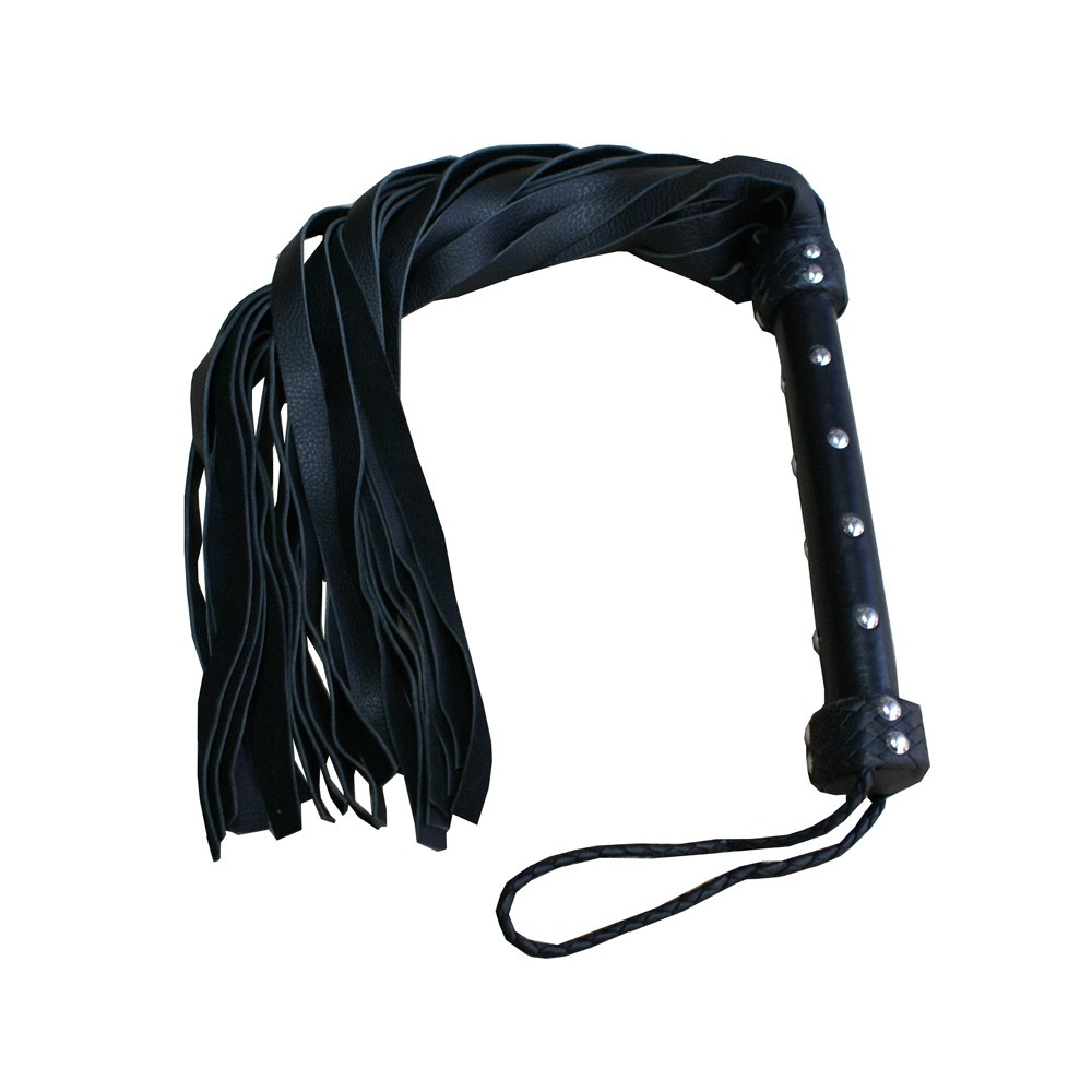 HMB-506C LEATHER FLOGGERS SPANKING WHIPS GOTHIC BLACK