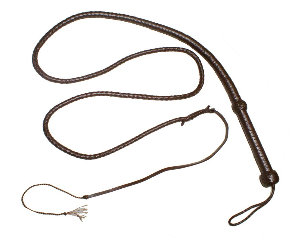HMB-508D LEATHER BULLWHIP DARK BROWN FLOGGER STRING CRACKER WHIP WOOD HANDLE
