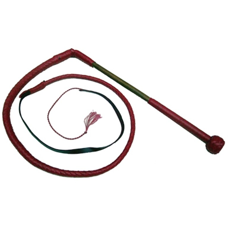 HMB-508E LEATHER BULLWHIP CRACKER WHIP WOOD HANDLE