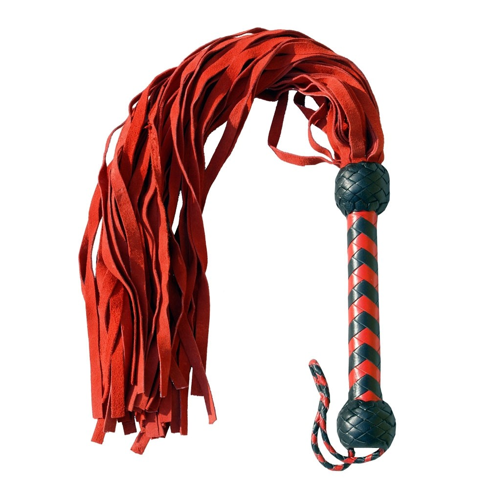 HMB-510B LEATHER FLOGGER BULLWHIP 36 TAILS BONDAGE WHIPS SPANKING WHIP RED BLACK