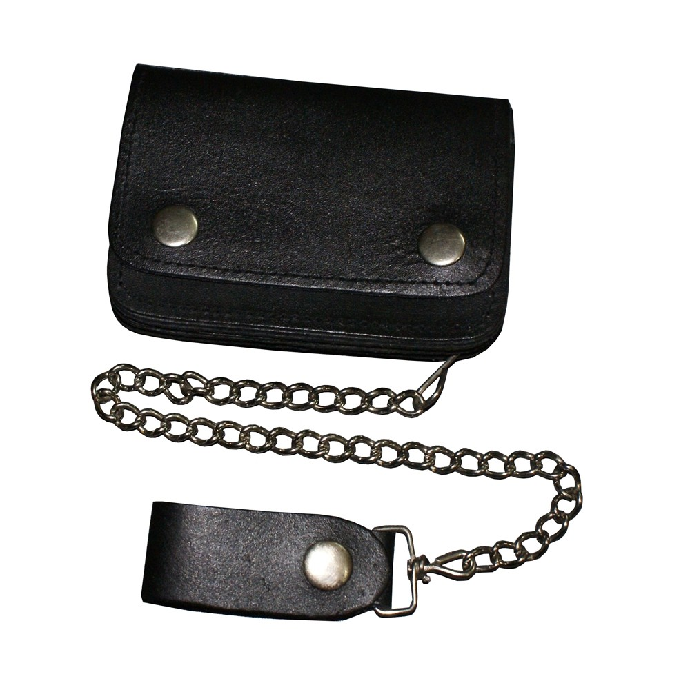 HMB-724A TRIFOLD WALLET GOTHIC CHAIN PURSE BLACK BIKER STYLE TRUCKER WALLETS