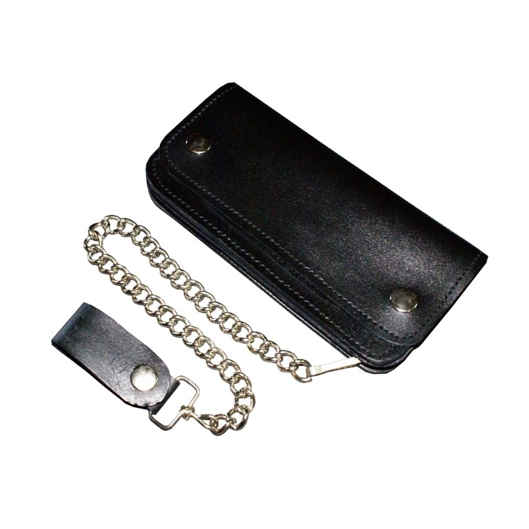 HMB-727A BIFOLD LEATHER WALLET BIKER PURSE PLAIN STYLE GOTHIC TRUCKER LARGE