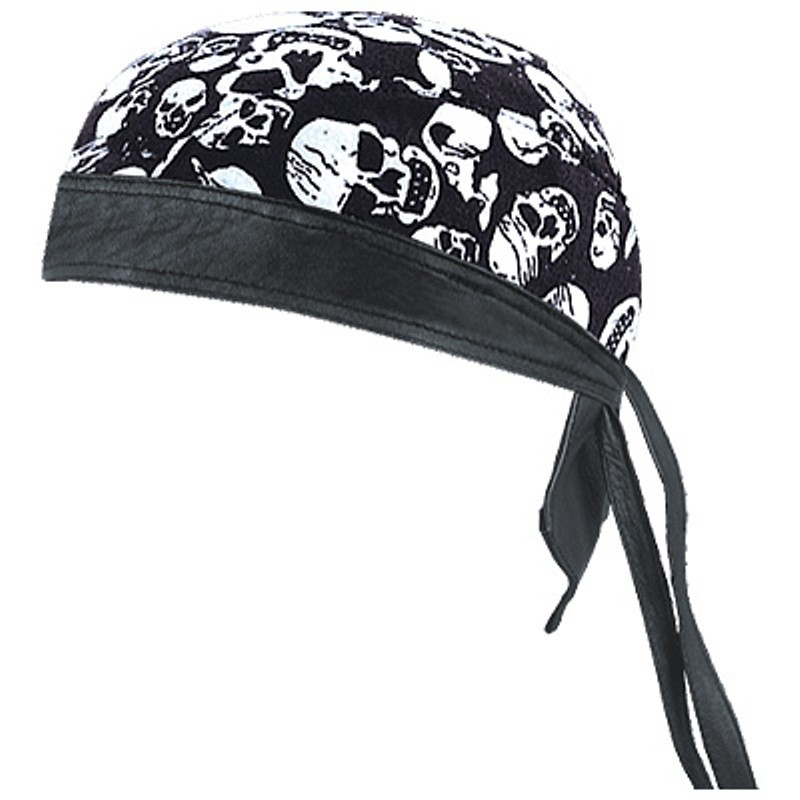 HMB-901A-F13 LEATHER SKULLCAP BANDANA CAPS DURAG HATS BIKER HEAD GEAR