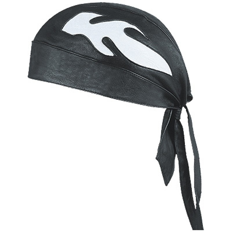 HMB-901B-3 LEATHER SKULLCAP BANDANA CAPS DURAG HATS BIKER HEAD GEAR